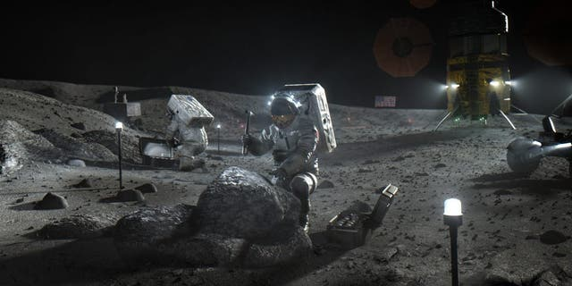 Illustration of Artemis astronauts on the Moon. (Krediet: NASA)