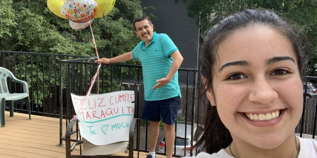 Texas dad Julio Cesar Segura surprised his daughter Diana Segura Lerma on her 19th birthday with lunch, a poster and balloons.