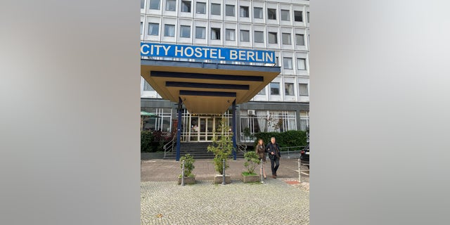 Cindy and Fred Warmbier, outside the Berlin City Hostel in Berlin, Germany, which is said to be an illegal money-maker for North Korea.