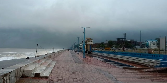 The promenade along the Bay of Bengal coast stands deserted ahead of Cyclone Amphan landfall, at Chandbali, in the eastern Indian state of Orissa, May 20, 2020.