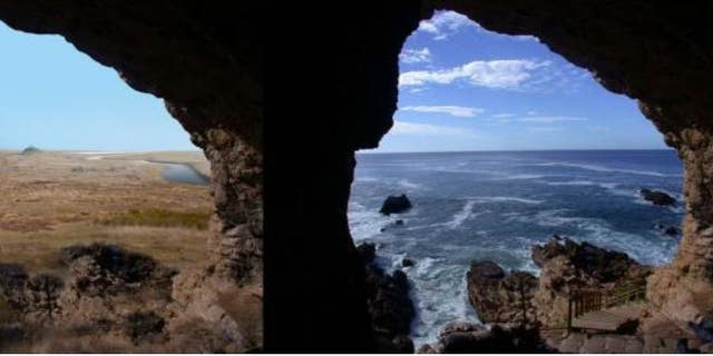 Looking out at the Palaeo-Agulhas Plain from the cave entrance at the Pinnacle Point, South Africa, research site--left, 200,000 years ago during glacial phases and lower sea levels, and right, today where the ocean is within yards of the cave entrances at high tides.