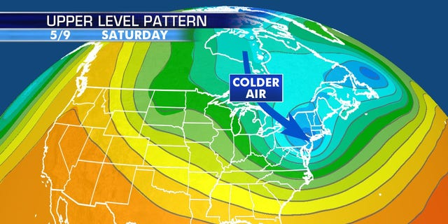 A surge of cold air will arrive in the Northeast in time for Mother's Day weekend, with the possibility of snow for some high-elevation locations.