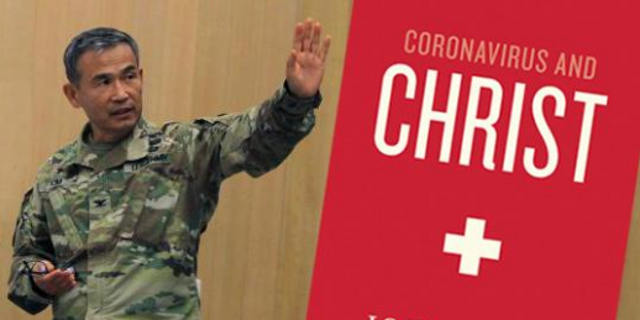 """U.S. Army Chaplain Col. Moon H. Kim, Camp Humphreys garrison chaplain, is being targeted by the Military Religious Freedom Foundation for sharing a PDF of Christian author John Piper's ebook, """"Coronavirus and Christ."""""""