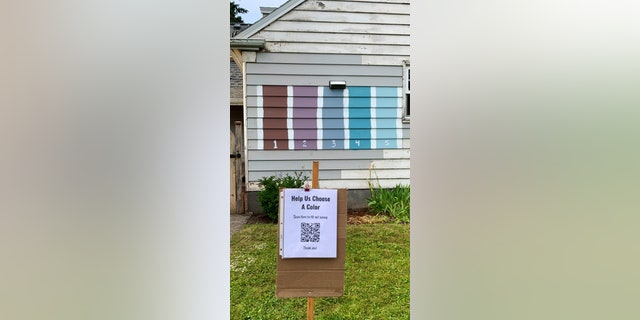 The Landreth family of Portland recently painted five colors on the side of their house and created a QR code, pictured, for?middle schooler Grace's school project about?documenting data.