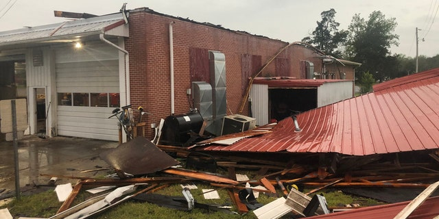 Damage can be seen to the Kittrell Volunteer Fire Department after a derecho blasted Tennessee on Sunday.