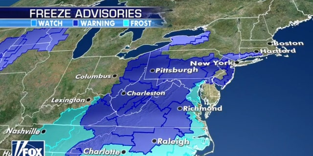Freeze warnings and frost advisories in the Mid-Atlantic and Northeast on Sunday.