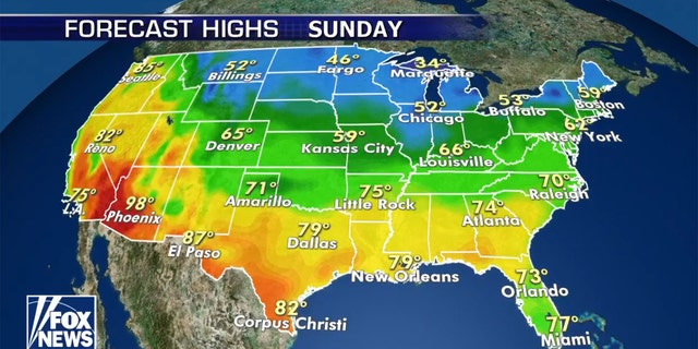 The forecast of Mother's Day across the U.S.