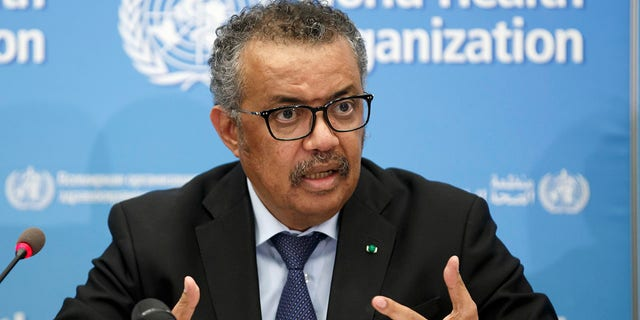Tedros Adhanom Ghebreyesus, Director-General of the World Health Organization (WHO), addresses a press conference about the update on COVID-19 at the World Health Organization headquarters in Geneva, Switzerland on Feb. 24, 2020. (Salvatore Di Nolfi/Keystone via AP, File)