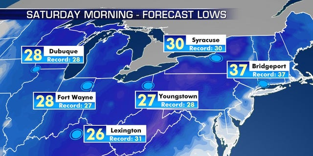 Record-cold temperatures may be broken on Saturday due to the blast of Arctic. air.