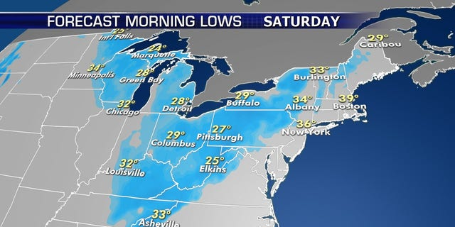 The coldest air will arrive by Saturday morning.
