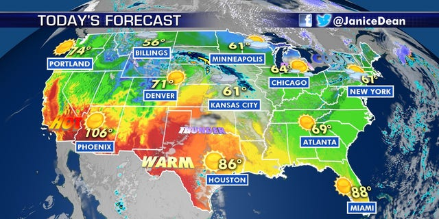 Hot weather continues out West on Thursday, as the Northeast braces for a shot of Arctic air.