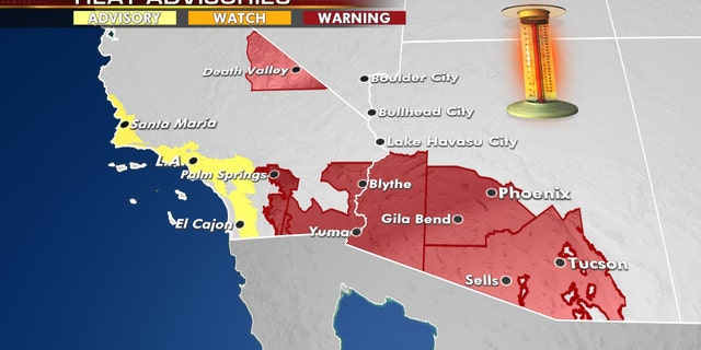 Excessive heat warnings and advisories are in effect out west as hot weather continues.