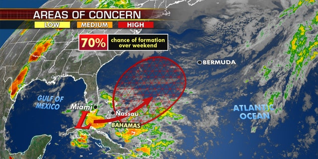 The National Hurricane Center said that there's a 70 percent chance that the system develops over the next five days into a tropical or subtropical depression or storm.