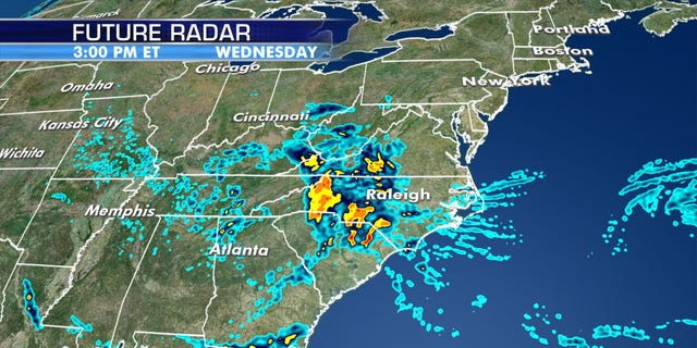 """A """"cutoff low"""" is forecast to bring heavy rain across the southern Mid-Atlantic and into the Southeast."""