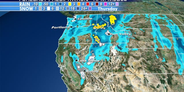 Several inches of snow are expected on Tuesday in high-elevation areas of California and Nevada.