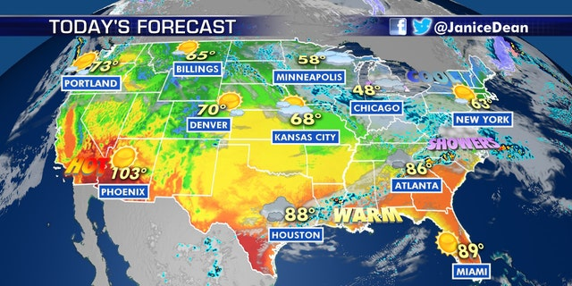 The Desert Southwest will continue to see hot conditions, as the Midwest and Northeast see an Arctic blast.