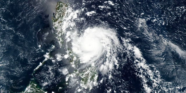 This Thursday, May 14, 2020, satellite image released by NASA shows Typhoon Vongfong roaring toward the eastern Philippines.