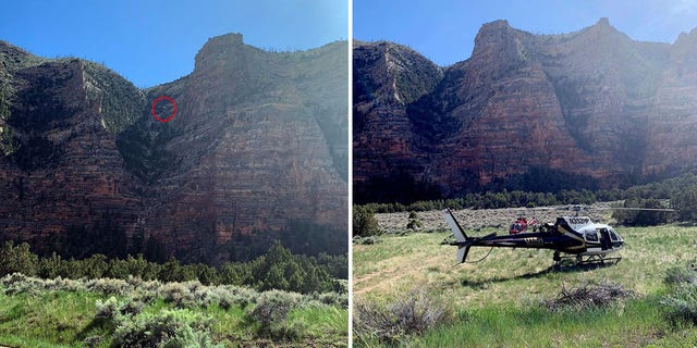 The red circle on the first photo shows the location of the Utah Department of Public Safety helicopter as it hovers near the spot where the injured climber was found. The rescue operation also used a second helicopter crew from Classic Air Medical.