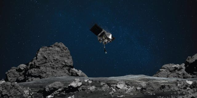 This illustration shows NASA's OSIRIS-REx spacecraft descending toward asteroid Bennu to collect a sample of the asteroid's surface.