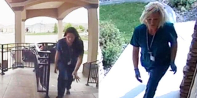 Police are searching for two women who dressed as nursed and stole packages from the porches of homes in the city of Kennewick in southeastern Washington.