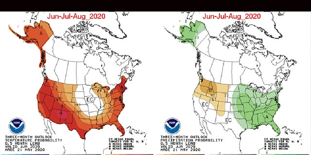 Above-normal temperatures are expected out West, along the Gulf Coast, and the East from June to August 2020. Above-normal precipitation is also forecast for the Midwest into the East.