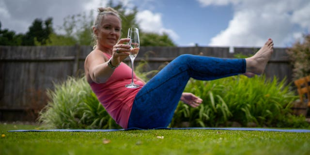 "Fitness instructor Kelly Ravenscroft, 41, from Sutton Coldfield, West Midlands in Birmingham, England, has been teaching ""prosecco.Pilates"" to women around the world."