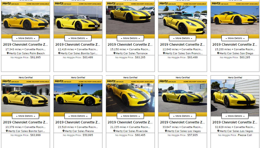 Yellow gold? Hertz selling used special edition Chevrolet Corvette Z06s