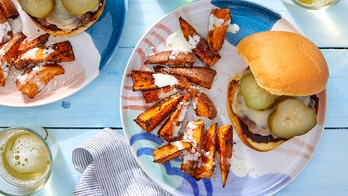 Summer grilling: Smoky cheeseburgers with elote-style sweet potatoes