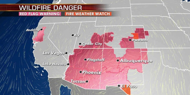 Critical fire conditions exist on Monday across the West and Southwest.