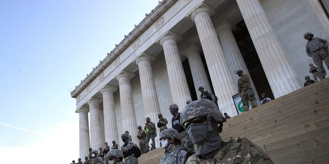 Members of the D.C. National Guard standing on the steps of the Lincoln Memorial on June 2 amid unrest over the death of George Floyd. (Win McNamee/Getty Images)