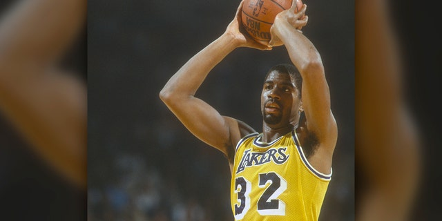 Los Angeles Lakers legend Magic Johnson is the No. 5 greatest player of all-time. (Photo by Focus on Sport/Getty Images)