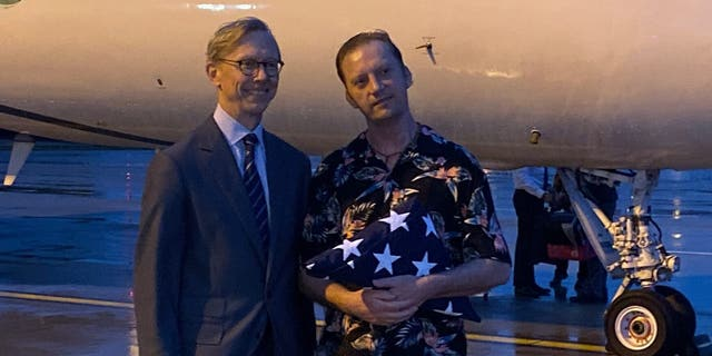 The State Department's Iran envoy Brian Hook (left) completed the transfer of White (right). (Rich Edson/Fox News).