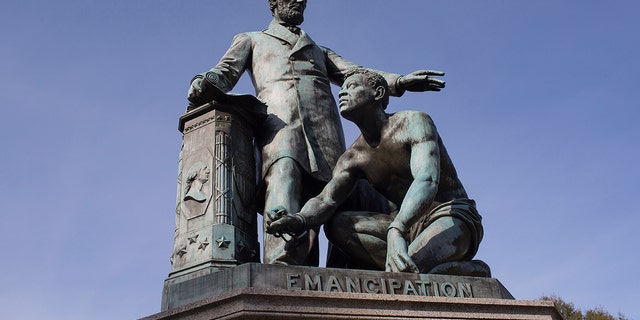 WASHINGTON, D.C. - NOVEMBER 11: The Lincoln Emancipation Statue sits in Lincoln Park on November 11, 2017 in Washington D.C.'s Capital Hill neighborhood. Paid for by former slaves and placed in the park in 1876, the statue depicts racial attitudes of the 19th century from a northern perspective. (Photo by Andrew Lichtenstein/Corbis via Getty Images)
