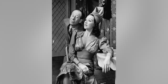 Musical stars Bert Lahr & Ethel Merman in a scene from the Broadway production of 'DuBarry Was a Lady.'