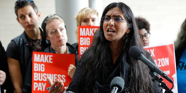 In this June 12, 2018, file photo, Seattle City Council member Kshama Sawant speaks at City Hall in Seattle. (AP Photo/Ted S. Warren, File)