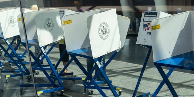 June 19, 2020: Early primary voting places opened in NYC. Social distance markers seen at the Brooklyn Museum of Art. (Photo by Lev Radin/Pacific Press/LightRocket via Getty Images)