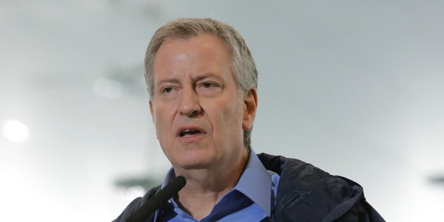 New York City Mayor Bill de Blasio speaks during a press conference in May.