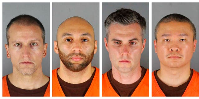 This combination of photos provided by the Hennepin County Sheriff's Office in Minnesota shows Derek Chauvin, from left, , Tou Thao, Thomas Lane and J. Alexander Kueng. The four former officers have been charged in the death of George Floyd. (Hennepin County Sheriff's Office via AP)