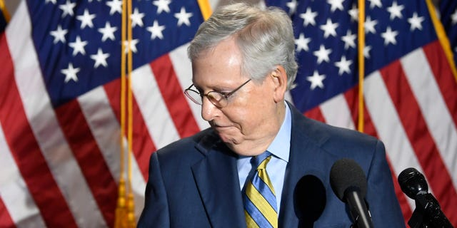 Senate Majority Leader Mitch McConnell of Ky. Steps away from the microphone as he talks to reporters after the weekly Republican politics luncheon on Capitol Hill in Washington on Tuesday, June 9, 2020. (AP Photo / Susan Walsh)