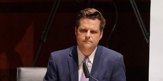 Rep. Matt Gaetz, R-Fla., asks questions during a House Judiciary Committee hearing on proposed changes to police practices and accountability on Capitol Hill, Wednesday, June 10, 2020. Gaetz will speak in the RNC broadcast Monday night. (Greg Nash/Pool via AP)