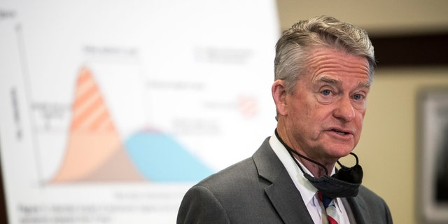 Gov. Brad Little announces Idaho's progression into Stage 4 of the state's economic recovery after a shutdown in March to prevent the spread of COVID-19, Thursday, June 11, 2020 at the Idaho Statehouse in Downtown Boise. (Darin Oswald/Idaho Statesman via AP)