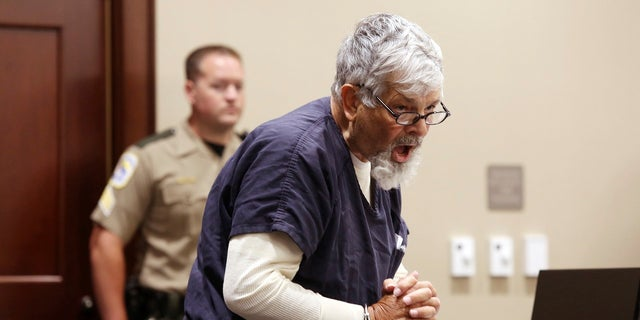 Frederick Hopkins speaks Thursday during a hearing in Florence, S.C., where a prosecutor announced he would seek the death penalty against him for the October 2018 shooting of seven police officers, two fatally. Hopkins spent eight minutes insulting the prosecutor and complaining he didn't have a preliminary hearing. (Matthew Christian/The Morning News via AP)