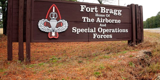 This Jan. 4, 2020 file photo shows a sign for at Fort Bragg, N.C. Fort Bragg is named for Confederate Major General Braxton Bragg. (AP Photo/Chris Seward)