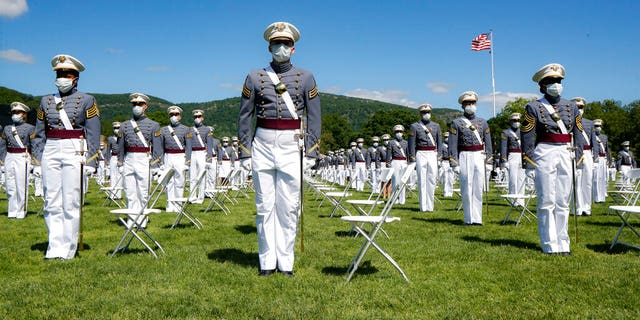 United States Military Academy graduating cadets gather during commencement ceremonies, Saturday, June 13, 2020, in West Point, N.Y. (AP Photo/John Minchillo, Pool)