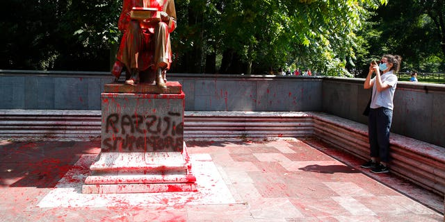 Westlake Legal Group AP20166354561707 Statue of Italy journalist defaced amid wave of anti-racist demonstrations across much of Europe fox-news/world/world-regions/united-kingdom fox-news/world/world-regions/italy fox-news/world/world-regions/germany fox-news/world/world-regions/france fox-news/world/world-regions/europe fox-news/person/george-floyd fox news fnc/world fnc c1c311fb-bfc6-50c7-8d94-84c9eb537727 Bradford Betz article
