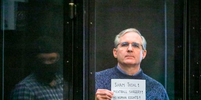 Paul Whelan listening to the verdict in a Moscow courtroom on Monday. (Sofia Sandurskaya, Moscow News Agency photo via AP)