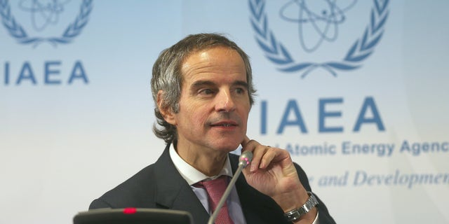 Director General of International Atomic Energy Agency, IAEA, Rafael Mariano Grossi from Argentina addresses the media during a news conference after a meeting of the IAEA board of governors at the International Center in Vienna, Austria, Monday, March 9, 2020. (AP Photo/Ronald Zak)