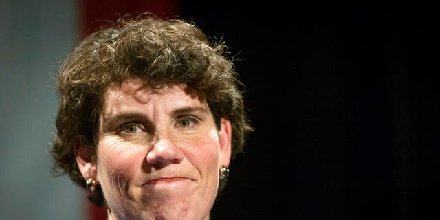 In this Nov. 6, 2018, file photo, Amy McGrath speaks to supporters in Richmond, Ky. McGrath is a former fighter pilot and the Democratic nominee challenging Senate Majority Leader Mitch McConnell, R-Ky., for his seat. (AP Photo/Bryan Woolston, File)