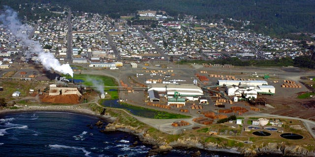 In this 2002 photo, an aerial view of the Georgia Pacific lumber mill is seen in the foreground at Fort Bragg, California (AP Photo / Marcio Jose Sanchez)