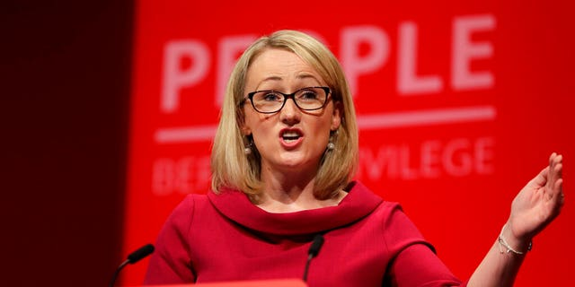 FILE - In this Tuesday, Sept. 24, 2019 file photo, Rebecca Long-Bailey, Britain's Shadow Business secretary speaks onstage during the Labour Party Conference at the Brighton Centre in Brighton, England. (AP Photo/Kirsty Wigglesworth, file)